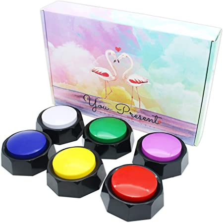 Recordable Buttons, Sound Buttons Recordable, 30S Recording Upgrade, Set of 6 Assorted Colored Buzzers, Easy to Use, Dog Training Buzzers, Answer Buzzers for Game Show (AAA betteries insid).