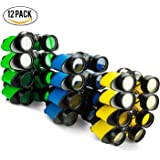 Binoculars Toy with Neck String Pack of 12 Assorted Colorful - Novelty Binoculars for Children , Sightseeing, Birdwatching, Wildlife, Outdoors, Scenery, Indoors, Pretend, Play, Party Favor Props, And Gifts