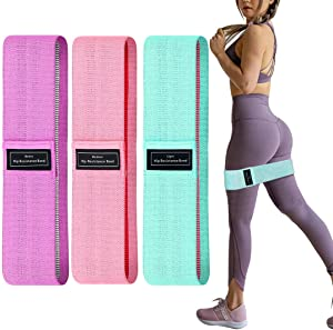Maggie Resistance Bands Set for Women Butt and Legs, Exercise Bands for Home Workout, Pilates, Yoga, Stretching, Wide Anti Slip Fabric Glute Hip Bands