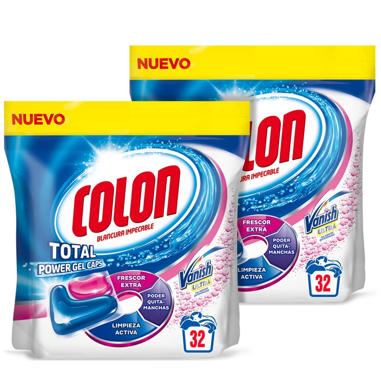 Colon Total Power Gel Caps Vanish Detergente para lavadora con Quitamanchas, formato Cápsulas - Pack de 2 - Hasta 64 dosis
