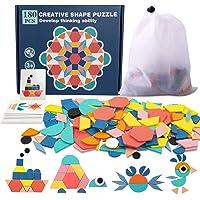 Pattern Blocks, 180 Pcs Wooden Tangrams Pattern Blocks for Kids Geometric Manipulative Shape Puzzle Kindergarten Classic…