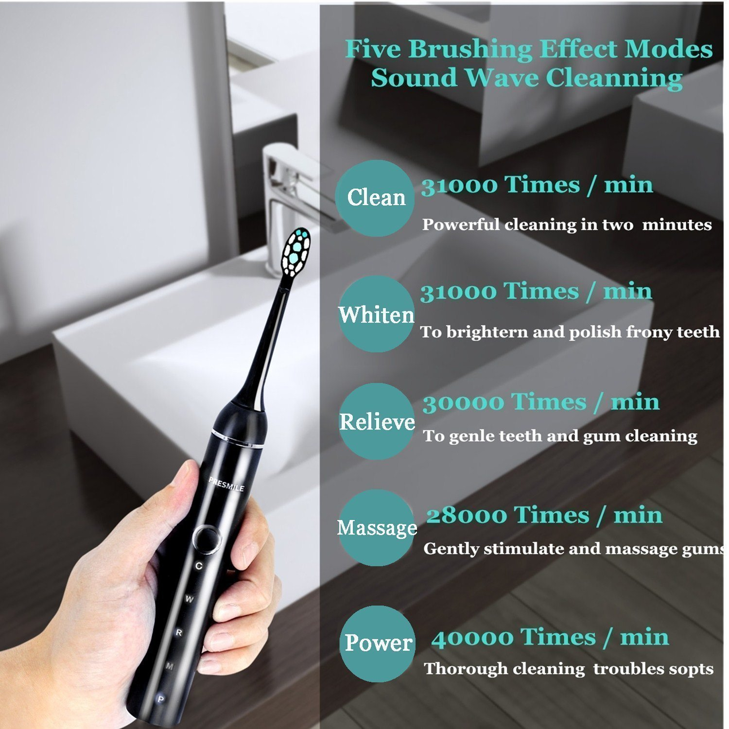Presmile Sonic ElectricToothbrush plaque control  Rechargeable - Wireless Inductive Charging - for Superior Dental Hygiene 5 Mode with 3 Replacement Heads, Dentists recommend,Black
