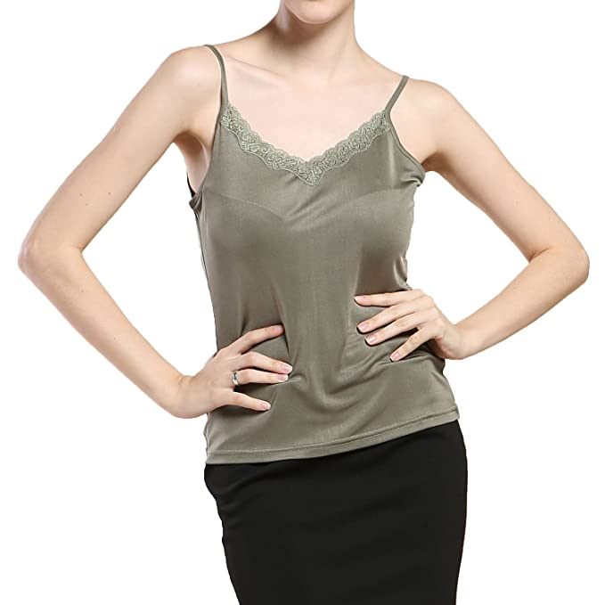 aa5339313acd2 Paradise Silk Pure Silk Knit Womens Lacy V Neck Camisole Tank Top at Amazon  Women s Clothing store