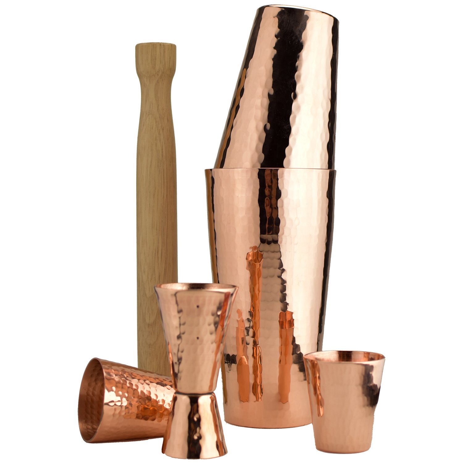 Premium Hammered Solid Copper Cocktail Shaker Set