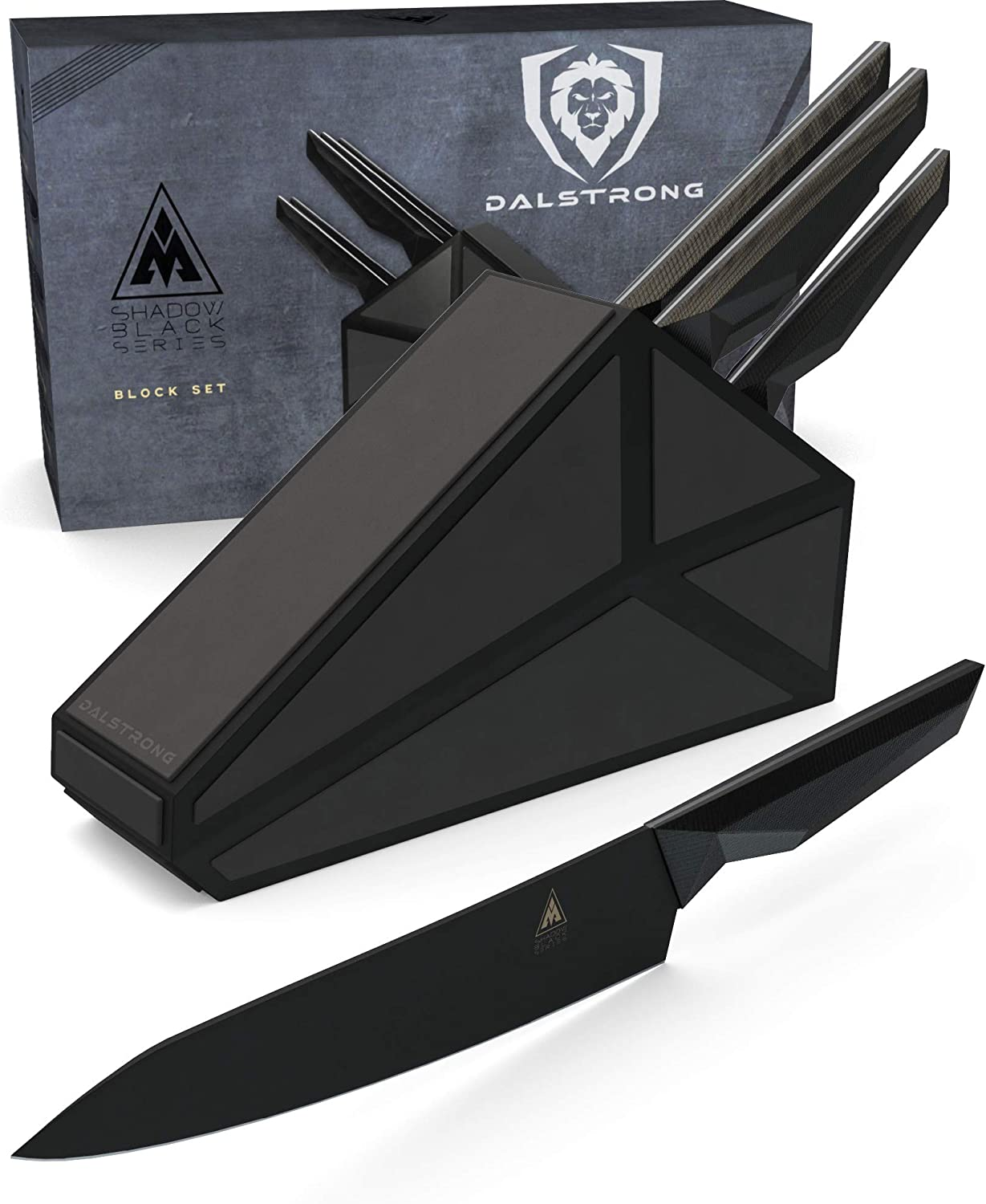 DALSTRONG - 5 Piece Knife Set Block - Shadow Black Series - Black Titanium Coated German HC Steel - NSF Certified