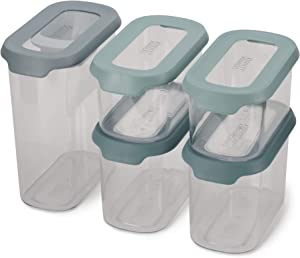 Joseph Joseph CupboardStore Airtight Easy Pour Food Storage Container Set with Scoop, 5-Piece, Opal
