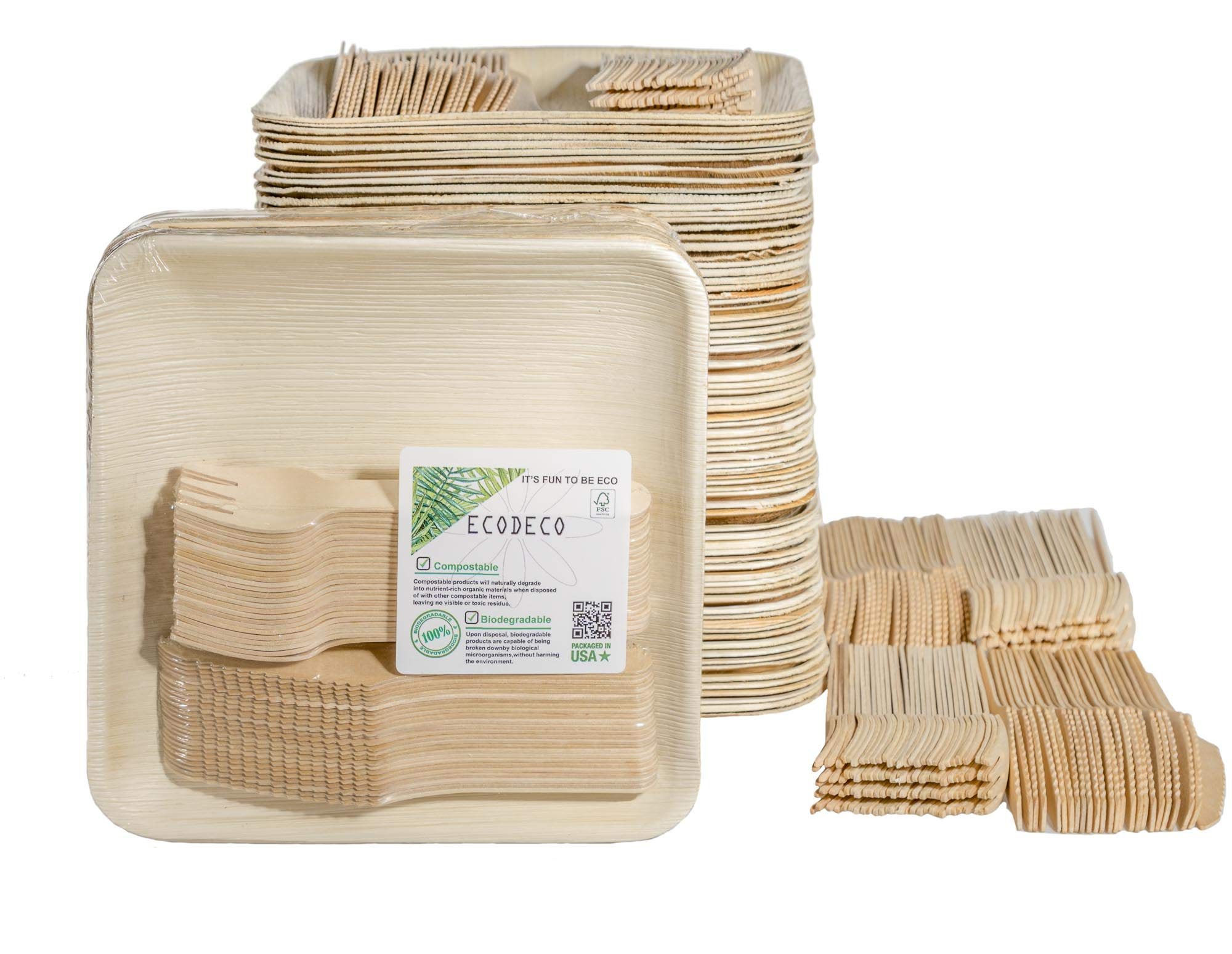 300 PCS Eco Friendly Disposable Dinnerware Set - 100 Palm Leaf Compostable 8'' Plates w/Wooden Cutlery - 100 Forks 100 Knives for Party by ECODECO (Image #1)