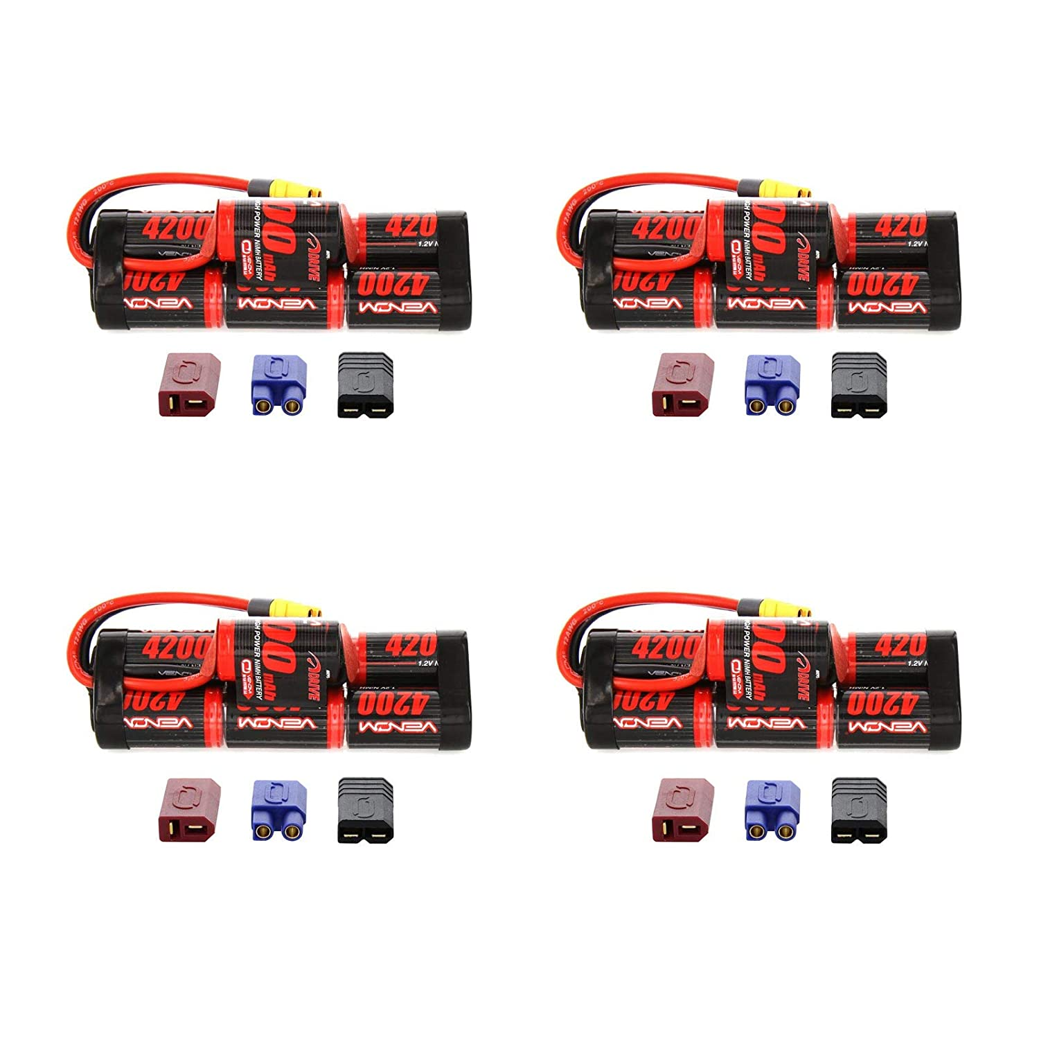 Venom 8.4v 4200mAh 7Cell Hump NiMH Battery with Universal Plug System x4 Packs