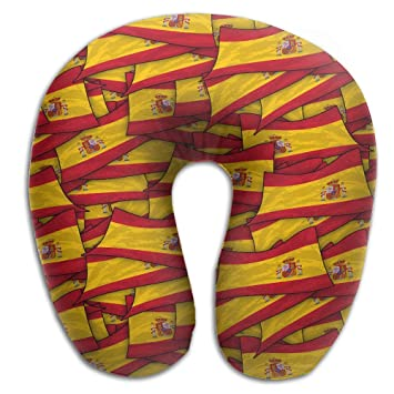 Bandera de España Wave Collage almohada de viaje cuello almohada de espuma de memoria de viaje con funda lavable moldes perfectamente a su cuello y cabeza: ...