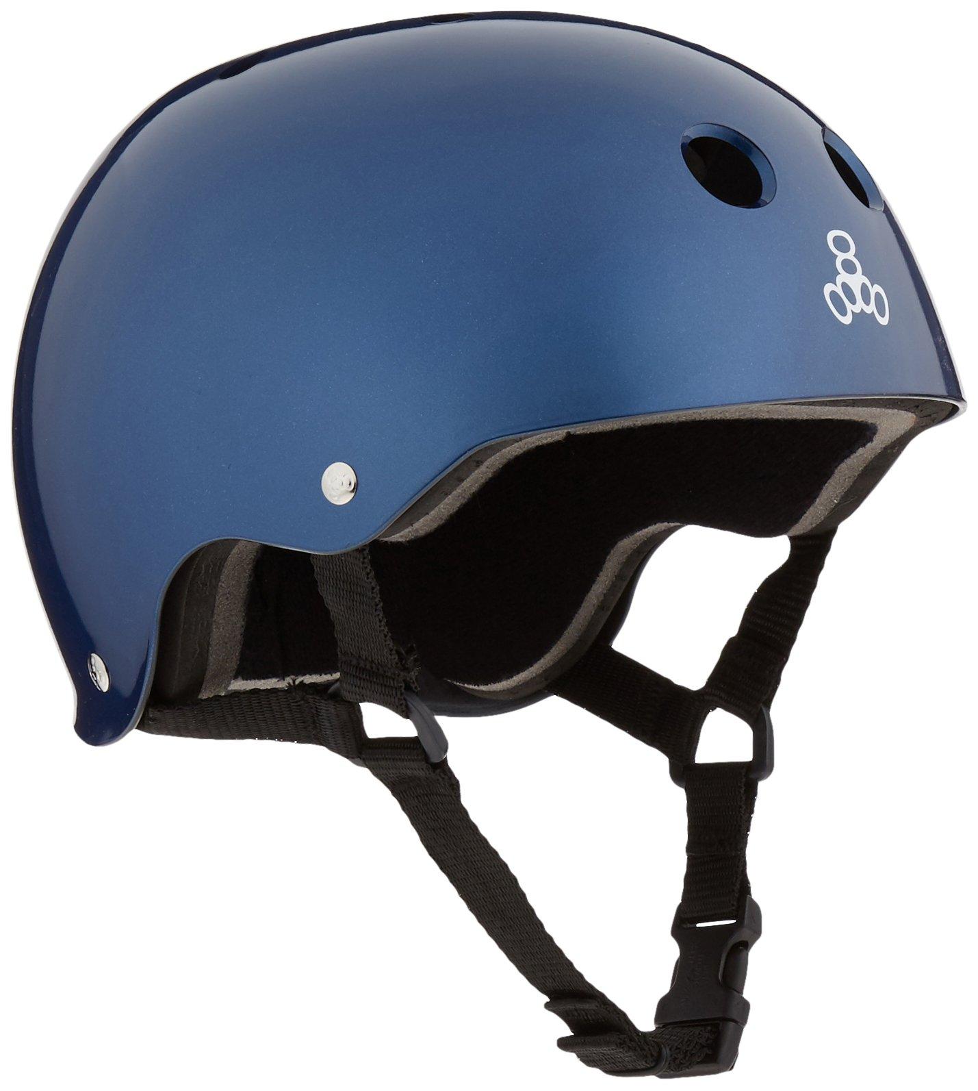 Triple 8 Standard Liner Skateboarding Helmet, Blue Metallic, L