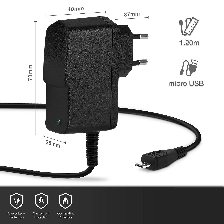 1.2m kompatibel mit Huawei MediaPad M1 // M2 // M3 // T1 // T2 // T3 // T5 5V // Micro USB 2A // 2000mA subtel/® Qualit/äts Ladekabel Ladeger/ät Netzteil Charger schwarz