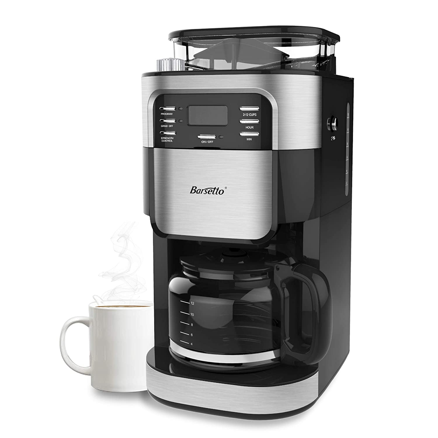 Barsetto Grind and Brew Automatic Coffee Maker with Digital Programmalbe Drip Coffee Machine,10-Cups,Black