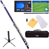 Mendini Closed Hole C Purple Flute with Tuner, Stand, 1 Year Warranty, Case, Cleaning Rod, Cloth, Joint Grease, and Gloves - MFE-PL+SD+PB+92D
