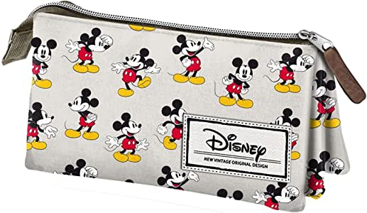 Mickey Mouse- Disney Classic Mickey Estuche portatodo Triple, Color Beige, 24 cm (Karactermanía 33608): Amazon.es: Juguetes y juegos