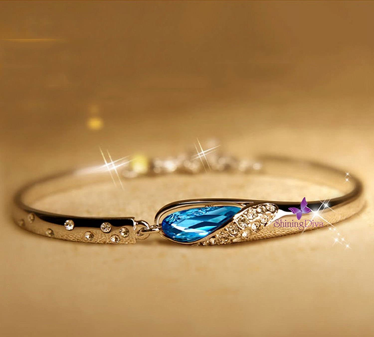 Buy Valentine Gift by Shining Diva Blue Crystal Combo Jewellery of ...