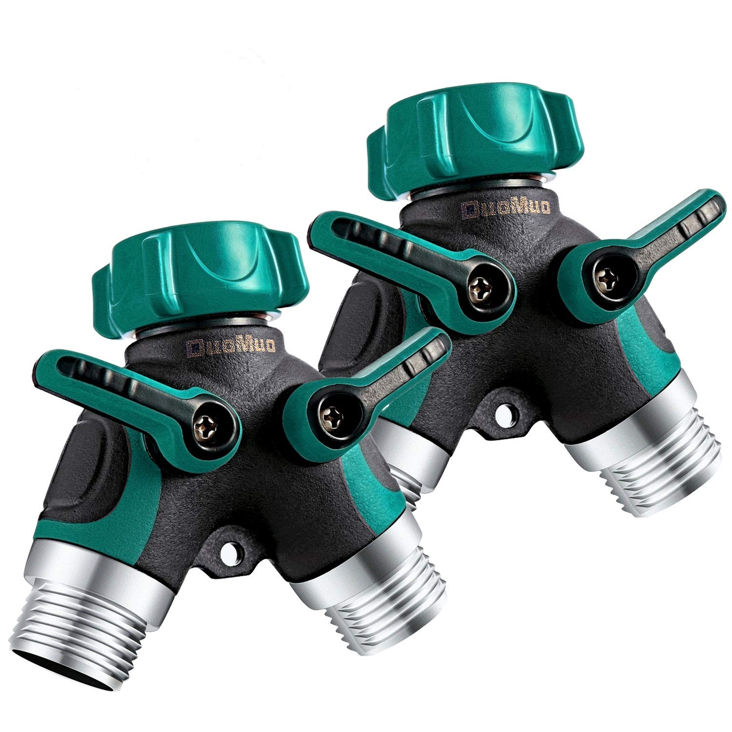 DuoMuo 2 Pack 2 Way Y Hose Splitter Hose Connector Garden Outdoor Faucet - with Comfortable Rubberized Grip - 10 Washers