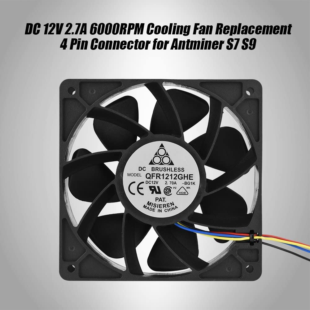 DC 12V 2.7A 6000RPM Cooling Fan Replacement 4 Pin Connector for Antminer S7 S9 ASHATA for Antminer s7 Fan