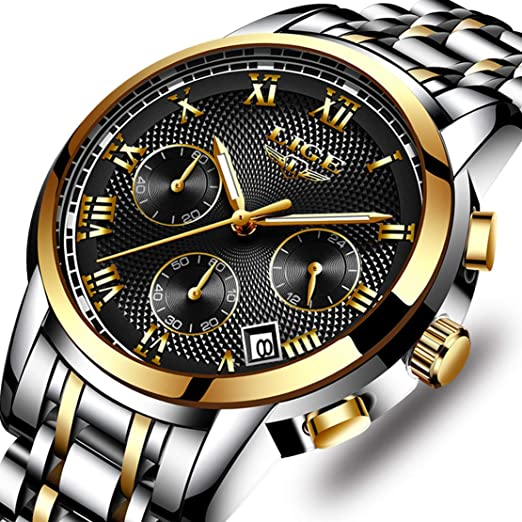 LIGE Hombres Moda Impermeable Cronógrafo Analogicos Cuarzo Relojes con Acero Inoxidable Negro Reloj para Hombre: Amazon.es: Relojes