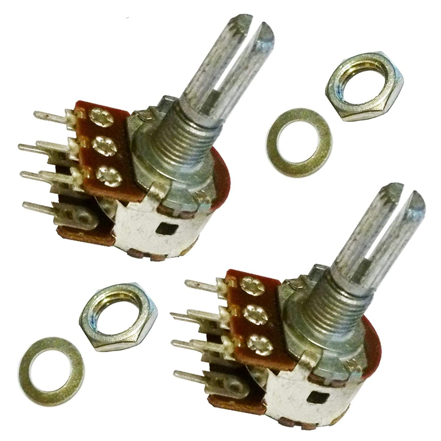 2x B20K ohm 20K ohm B203 Dual Stereo Linear Lin Knurled Splined Shaft Rotary Potentiometer Pot Shaft:20mm Unbranded/Generic