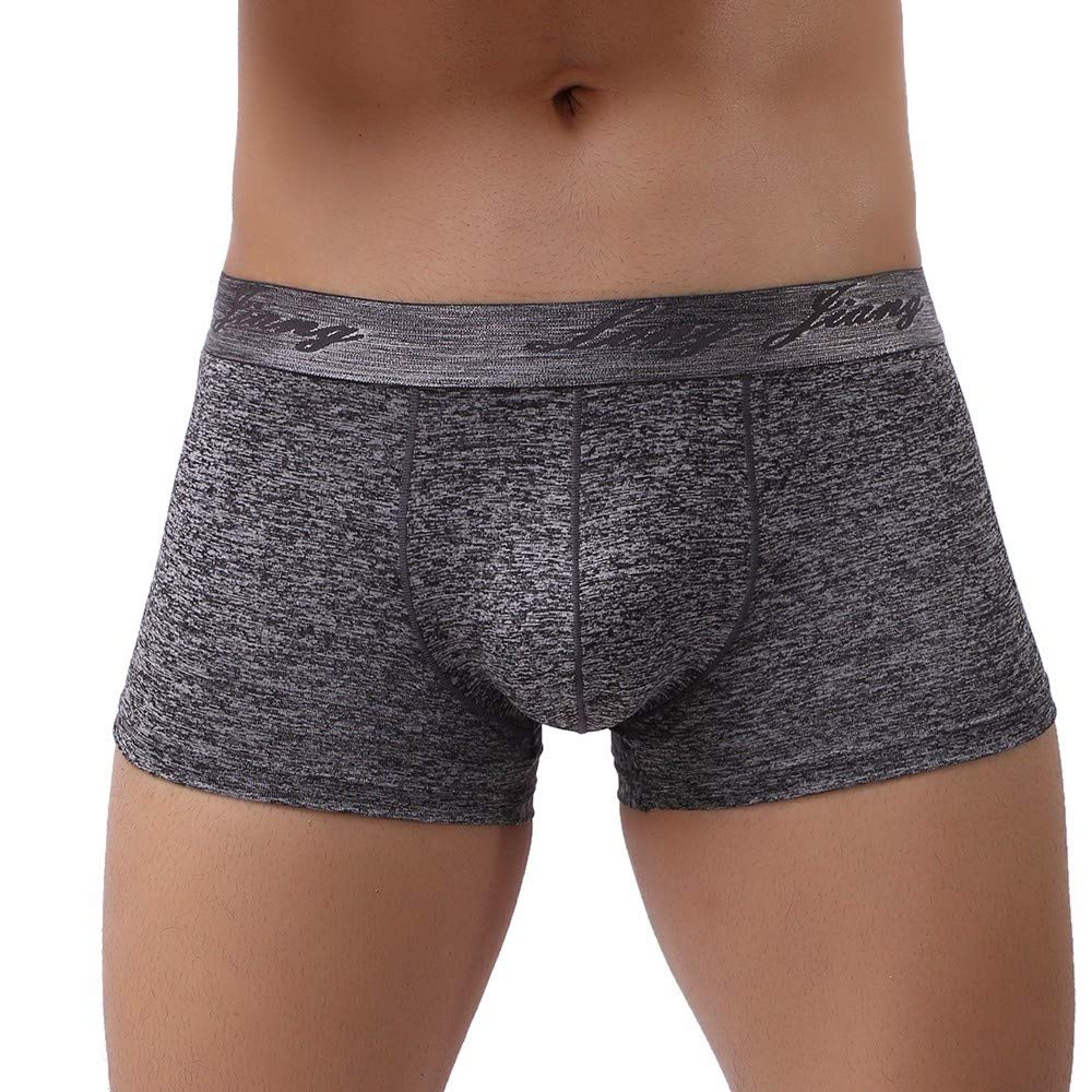Yuxikong Mens Boxer Briefs Comfortable Cotton Breathable Tagless Short Leg for Men Boys Gray