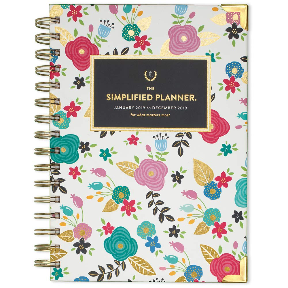 Emily Ley 2019 Weekly & Monthly Planner, The Simplified Planner, 5-1/2 x 8-1/2, Small, Hardcover, Wirebound, Floral (EL102-200) 5-1/2 x 8-1/2 Mead (Dated Office Supplies) EL102-200-19