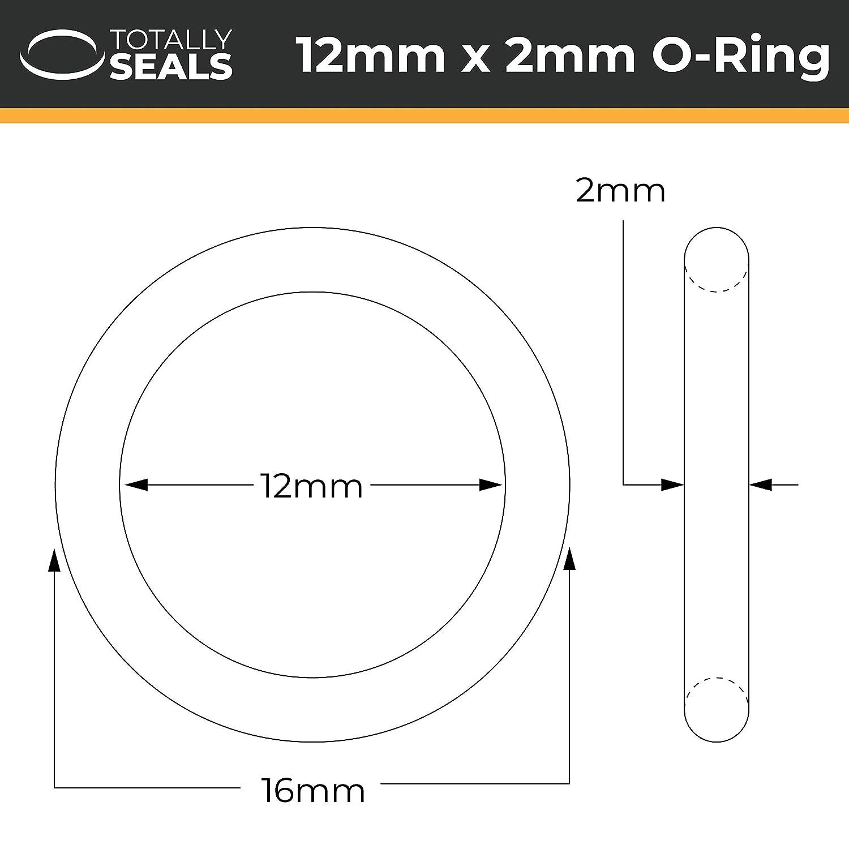 Viton FKM 12 x 2 mm, 16 mm, dureza 75A Juego de juntas t/óricas de goma