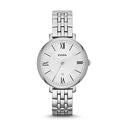 f0e888cd FOSSIL Jacqueline Stainless Steel Watch – Analogue Women's Wrist Watch with  Date Function in Gift Box - Stainless Steel Bracelet and Case with Silver  ...