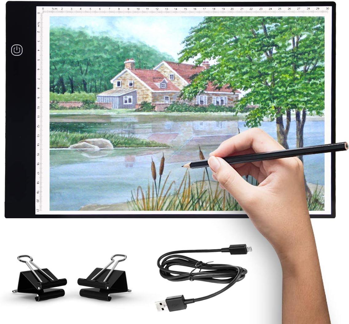 Artistas Cajas de luz Almohadilla de dibujo LED de seguimiento port/átil ultrafino A4 cable de alimentaci/ón USB Brillo regulable LED Artcraft Tracing Light Pad Box A4
