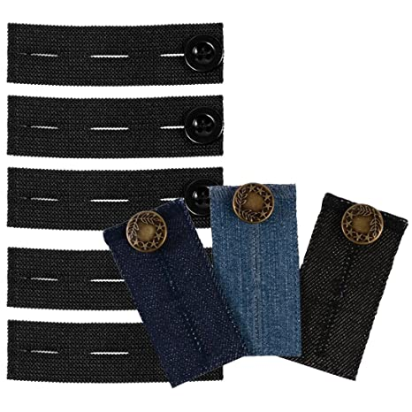 Conjunto de extensores de botón para pantalones, 5 extensores de cintura elásticos y 3 extensores de cintura vaqueros, para pantalones de embarazo u ...
