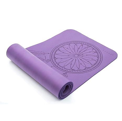 Exerz Colchoneta De Yoga/Gym Mat con una Correa de Transporte y Bolsa - XL 183 x 61 cm / 10 mm Espesor - Alta Densidad/Antideslizante/para ...