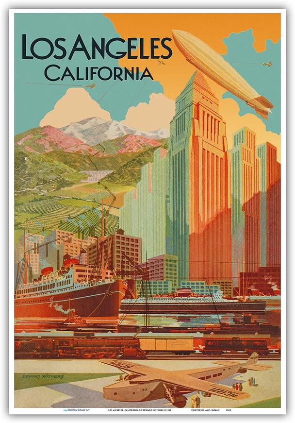 Amazon.com: Los Angeles, California - Vintage Travel Poster by Edward  Withers c.1929 - Master Art Print 13in x 19in: Posters & Prints