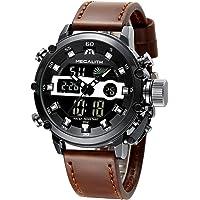 Montre Homme Montre Militaire Sport pour Homme Etanche Chronographe Alarme Date LED Digitale Analogique Montres Bracelet de Mode Grand Cadran Entreprise Décontractée