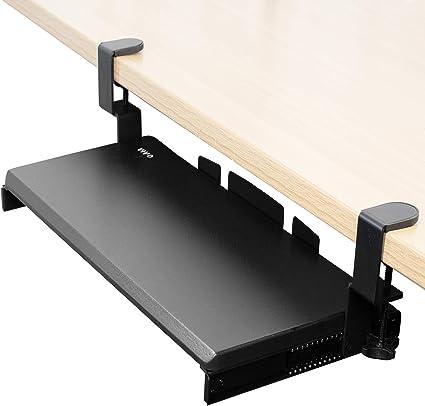 VIVO - Bandeja para teclado para debajo del escritorio, extraíble, con sistema de montaje de abrazadera C extrafuerte, plataforma deslizante para ...