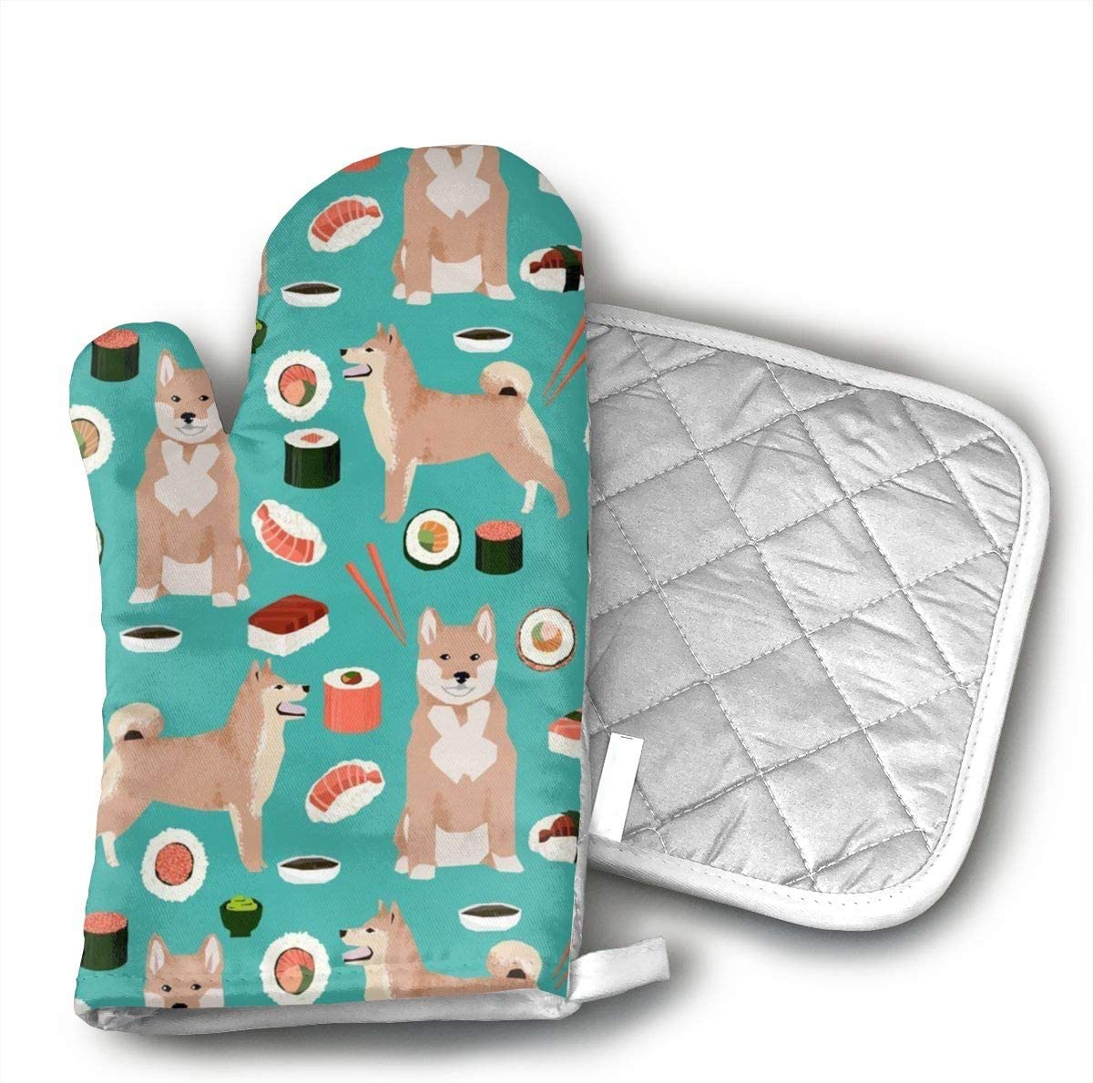 Wiqo9 Shiba Inu and Sushi Novelty Dogs Oven Mitts and Pot Holders Kitchen Mitten Cooking Gloves,Cooking, Baking, BBQ.