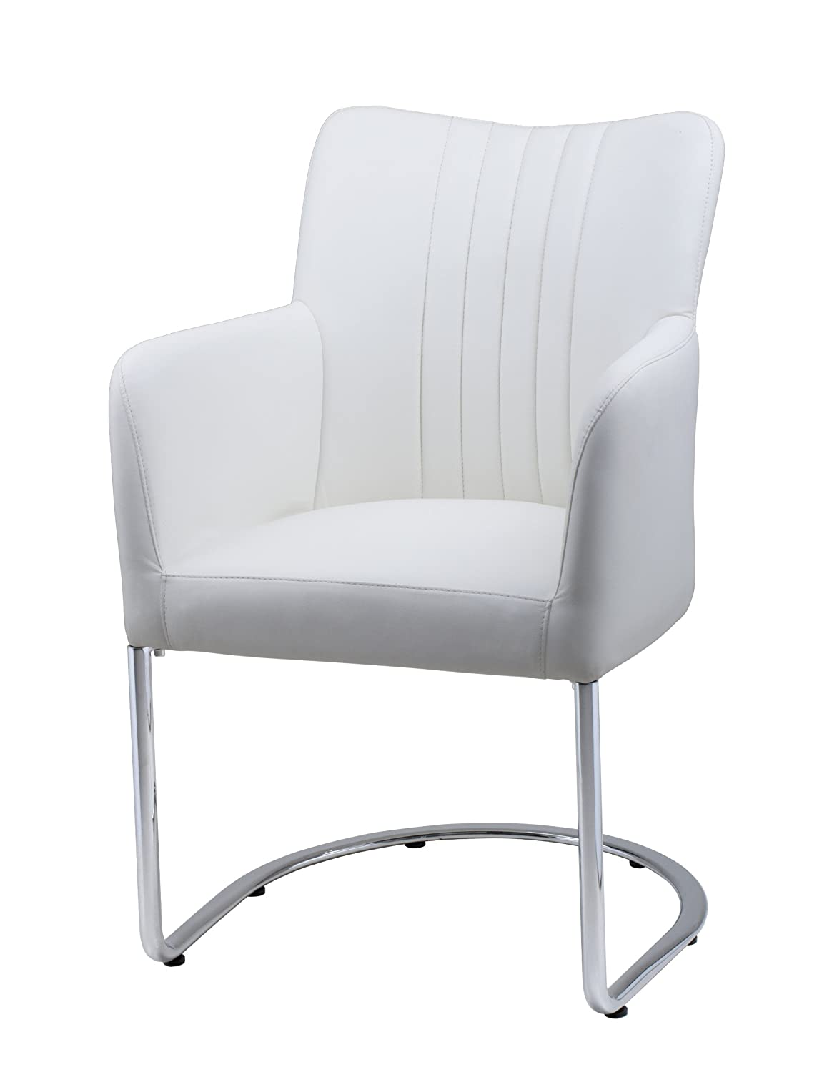 Amazon Com Plutus Leatherette Armchair With Half Moon Stainless