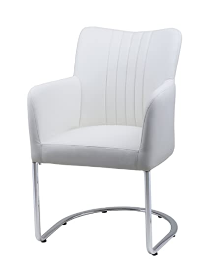 Plutus Leatherette Armchair With Half Moon Stainless Steel Legs, White