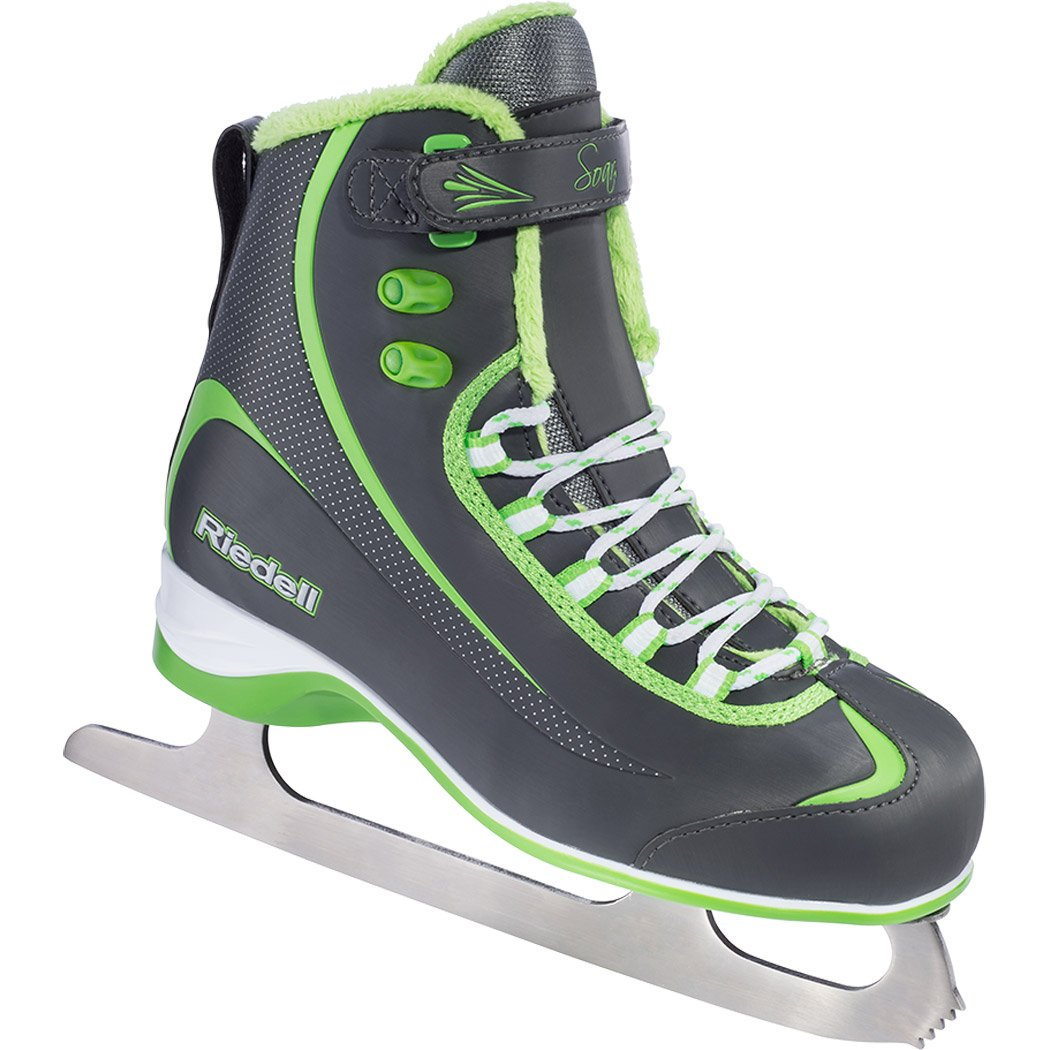 Size 9 Color Kids Beginner//Soft Figure Ice Skates Gray and Lime Riedell 615 Soar