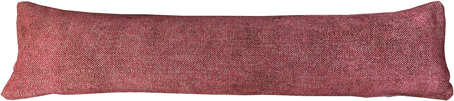 Classic Home Store Soft Draught Excluder Thick Woven Fabric Door Window Draft Guard Stopper with Zip (Red & Sand)