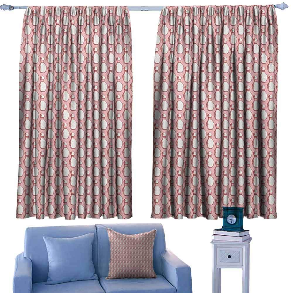 ParadiseDecor Bowling Girs Room Backout Curtains Sketchy Pins in Vintage Style on Pinkish Backdrop Sports Leisure Time Activity,Thermal Insuated Curtain Panels,W42 x L63 Inch by ParadiseDecor
