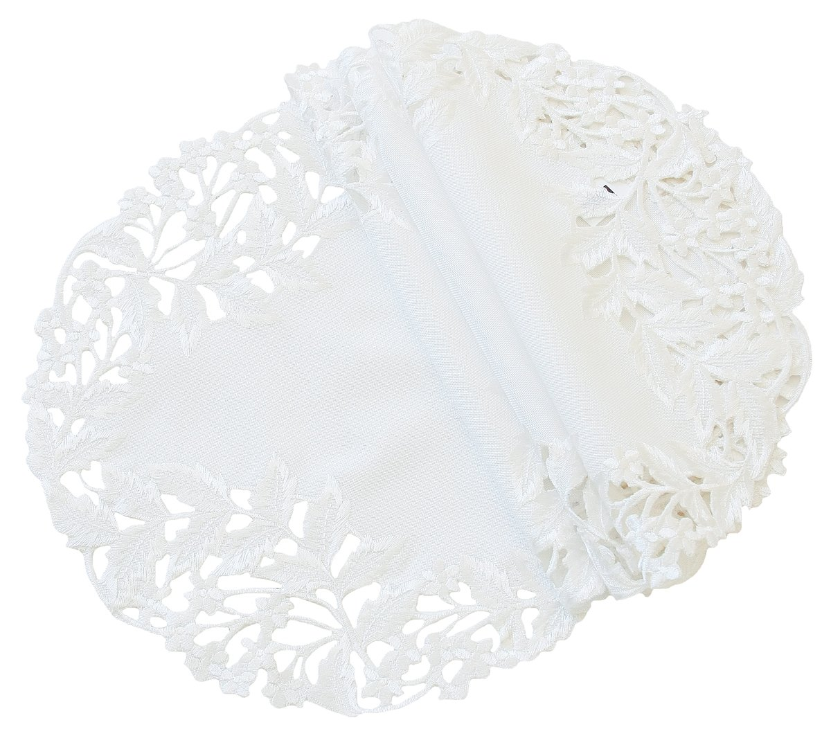Xia Home Fashions Arietta Embroidered Cutwork Spring Doilies, 8-Inch Round, White, Set of 4