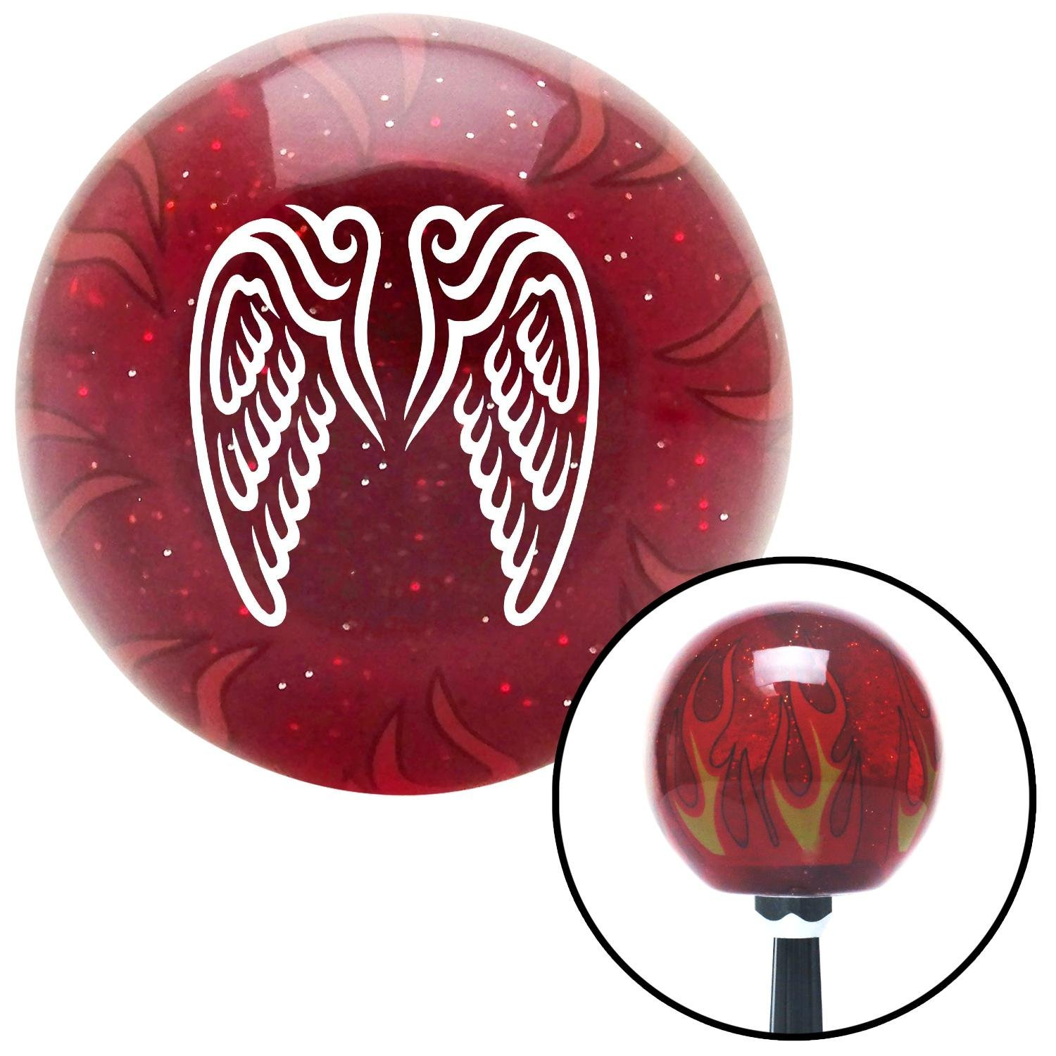 White Wings Conjoined in Lure American Shifter 237239 Red Flame Metal Flake Shift Knob with M16 x 1.5 Insert