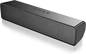 SAKOBS Computer Speakers, Wireless Computer Sound Bar, Stereo USB Powered Mini Soundbar Speaker for PC Tablets Desktop Cellphone Laptop with Dual Speakers,18H Playtime & Microphone