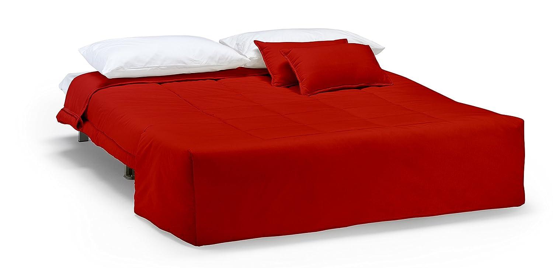 Divano letto Open 140, prontoletto con rivestimento in cotone rosso ...
