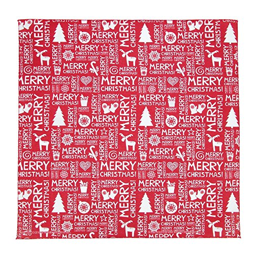 CTM Merry Christmas Print Holiday Bandana, Red