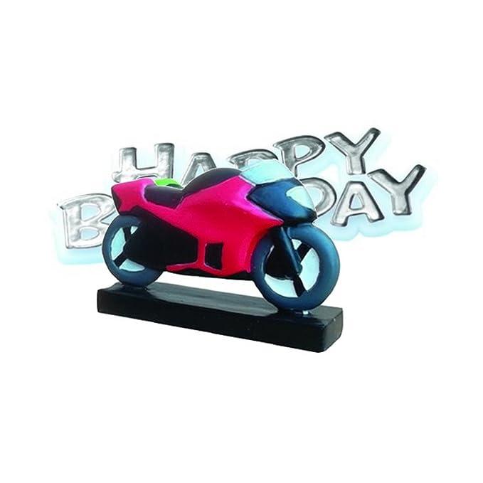 Super Motorbike Resin Happy Birthday Cake Decoration Amazon Co Uk Toys Funny Birthday Cards Online Alyptdamsfinfo