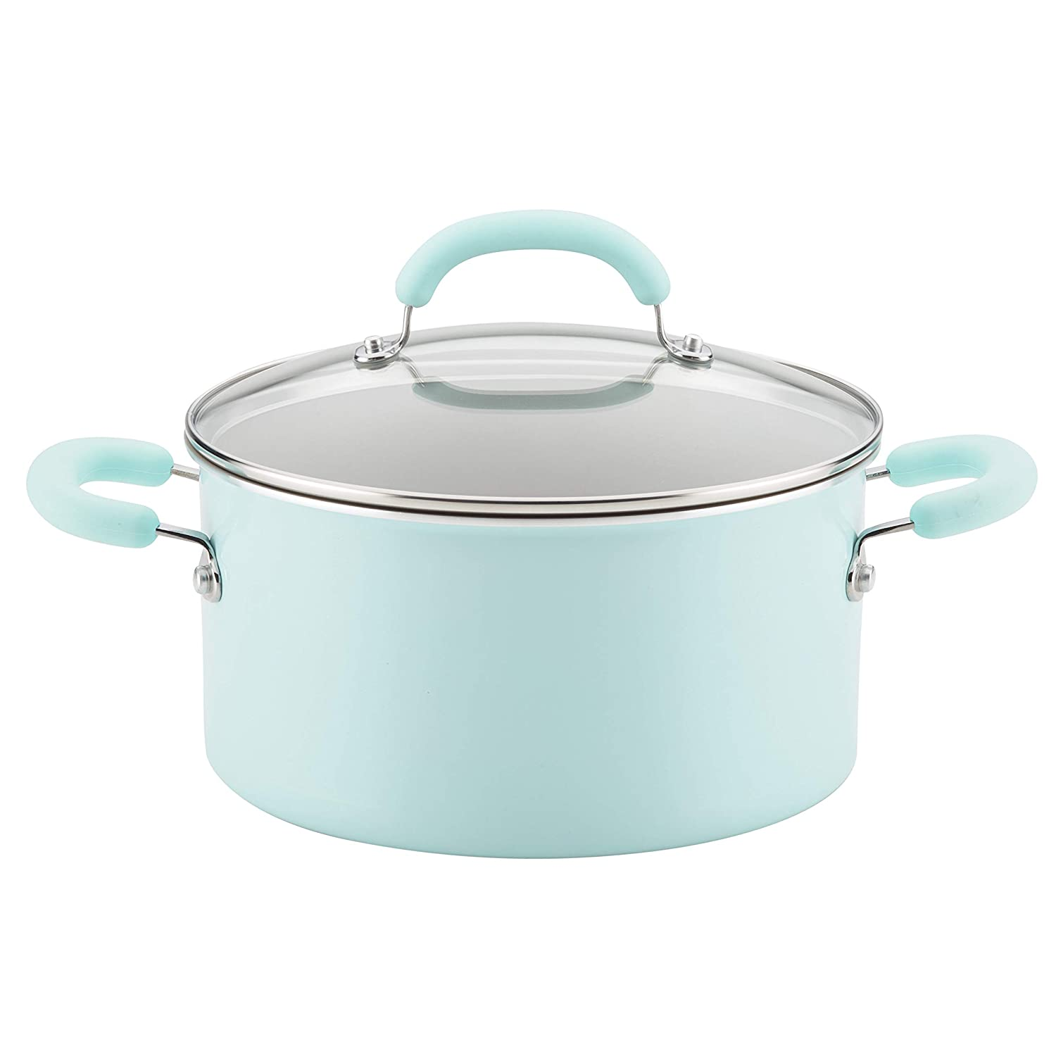 Rachael Ray 12165 6-Qt Aluminum Stockpot, 6 Quart, Light Blue Shimmer