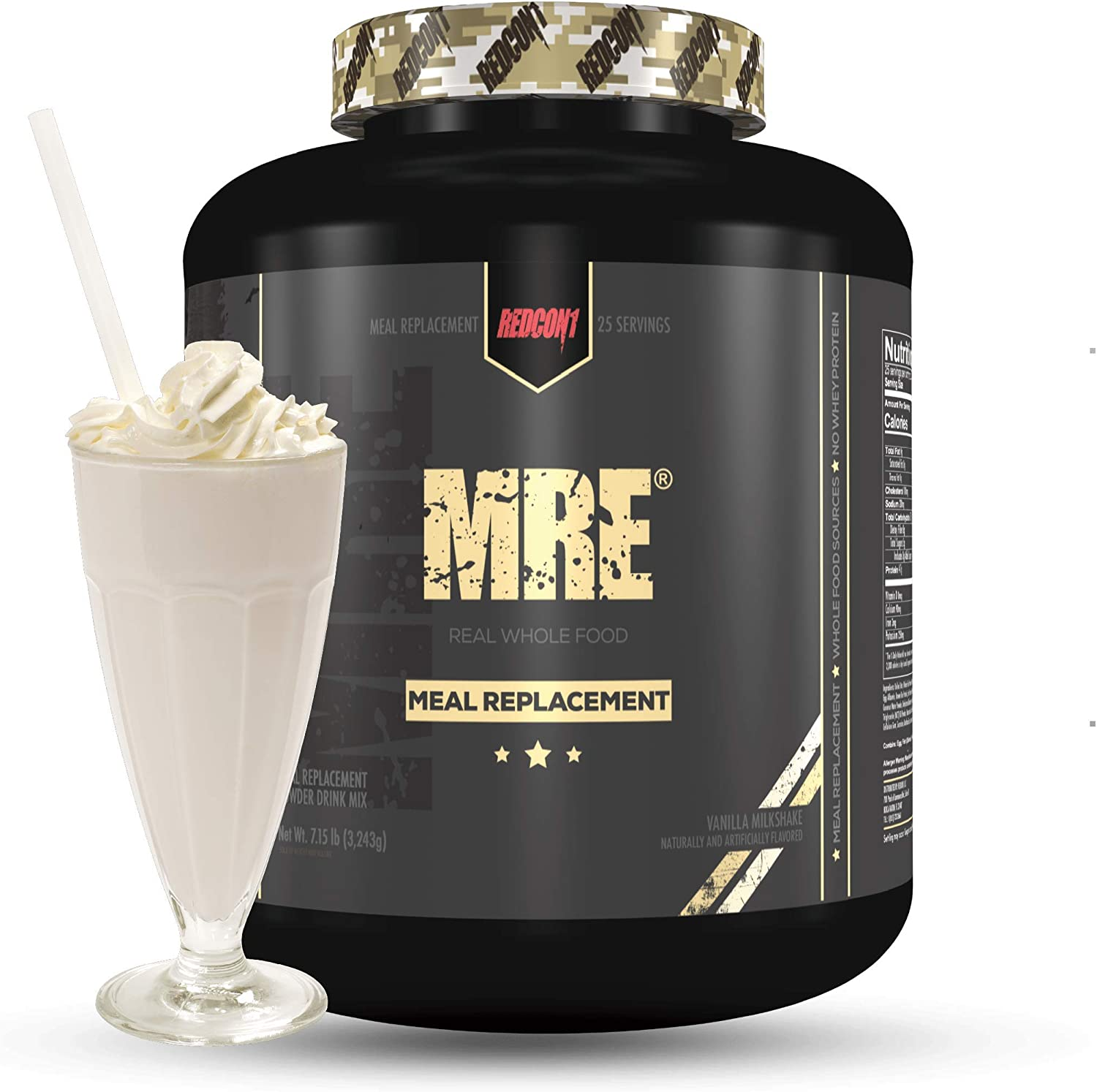 Redcon1 MRE, Meal Replacement Protein 7.15 Pound, Animal Based Protein, Real Whole Food Sources, 47G Protein, Low Sugar (Vanilla Milkshake)