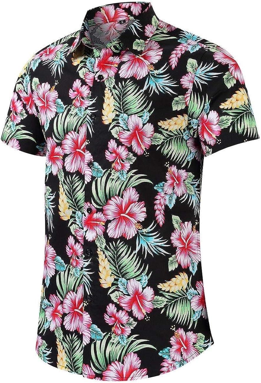 DressUMen Relaxed-Fit Hawaiian Beach Boho Leisure Short Sleeve Collar Shirt