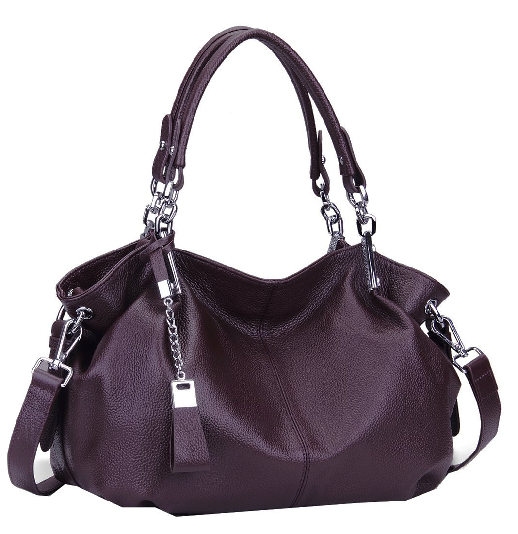 Heshe Womens Leather Handbags Ladies Designer Purse Tote Bag Top Handle Bag Hobo Bag Shoulder Bag Cross Body Bag (Violet)