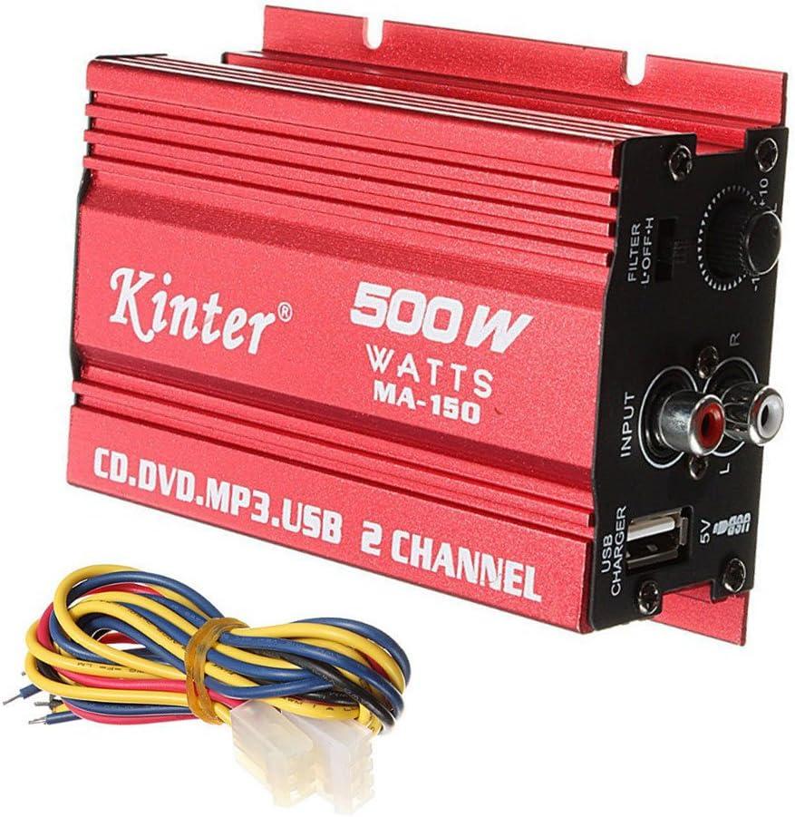 ePathChina® 500W MA-150DC9–15V 2-Ch Mini Hi-Fi estéreo Amplificador de Audio Amplificador subwoofer para Coche Motocicleta